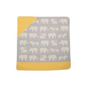 David Fussenegger JUWEL Kapuzendecke Elefant grau gelbt 80x80