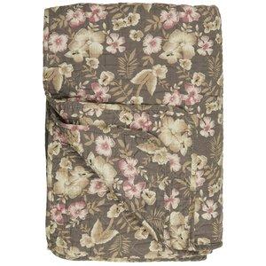 IB Laursen Quilt braun mit Blumen 130x180