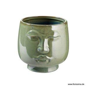 Keramiktopf Face grün 15x14,5h