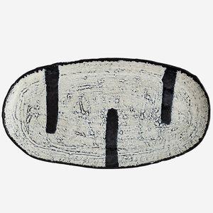 Madam Stoltz Tablett/Teller offwhite blue oval groß