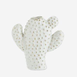 Madam Stoltz Cactus Vase white beige 11,5x4,5x12,5