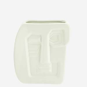 Madam Stoltz Vase Face Imprint Stoneware white 15x7x16