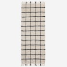 Madam Stoltz Leather Rug Natural Black Check