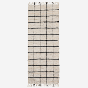 Madam Stoltz Leather Rug Natural Black Check 70x200