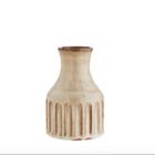 Madam Stoltz Striped Vase Stoneware beige