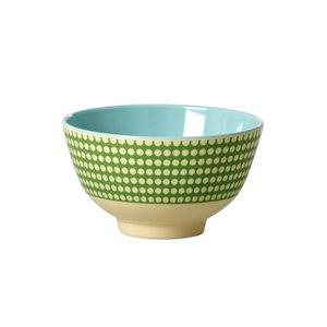 Rice Melamine Bowl small Dot green