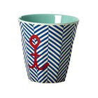 Rice Melamine Cup Sailor Stripe Anchor
