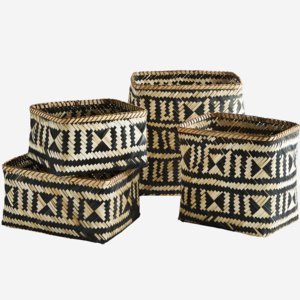 Madam Stoltz Bamboo Baskets Natural Black Set of 4