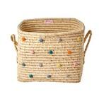 Rice Raffia Basket Dots Summer