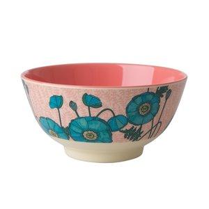 Rice Melamine Bowl Blue Poppy