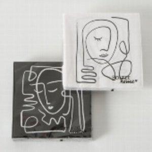 Papierservietten Faces Pica sw, 2x20 Stk.