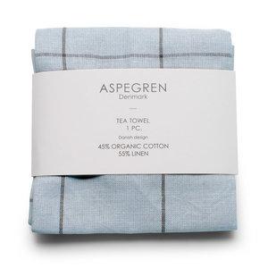 Aspegren Tea Towel Organic Cotton and Linen Squares blue 50x70