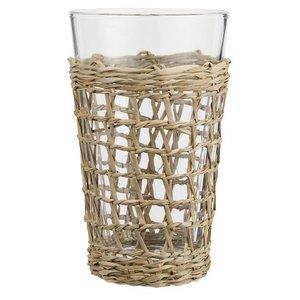 IB Laursen Trinkglas mit Strohgeflecht 9x15h