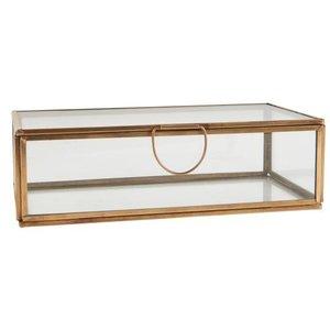 IB Laursen Glasbox Messing m. Deckel länglich 10,5x20,5x6