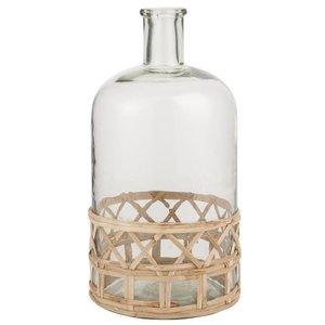 IB Laursen Glasflasche/Vase mit Bambusgeflecht 13/2,5x26,5h