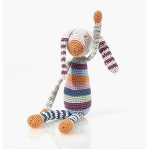 Pebble Organic Rattle Bunny Stripe multi 30 cm