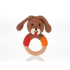 Pebble Wooden Ring Rattle Dog 14x8 cm