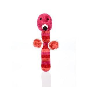 Pebble Flamingo Stick Rattle pink 18 cm