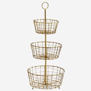 Madam Stoltz Iron Etagere w. Baskets Antique Brass D:24,5 H:54 cm