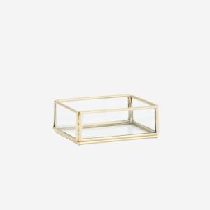 Madam Stoltz Rectangular Glass Tray golden 9x6,5x3 cm