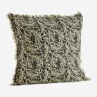 Madam Stoltz Printed Cushion Cover Fringes Black