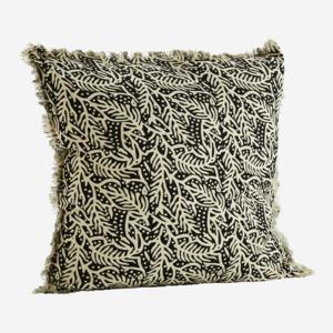 Madam Stoltz Printed Cushion Cover w. Fringes Black 50x50