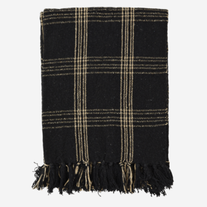 Madam Stoltz Checked Woven Throw Black 125x150
