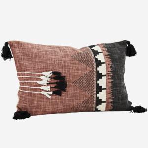Madam Stoltz Printed Cushion Cover w. Tassels Raspberry 60x40