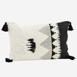 Madam Stoltz Printed Cushion Cover w. Tassels Off White 60x40