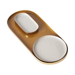 Au Maison Decoration Tray Mustard/Verte 23x10, D:9, 9x5