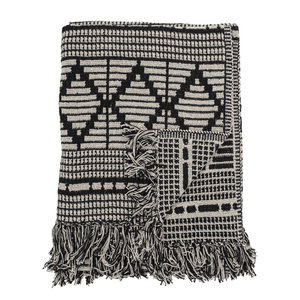 Bloomingville Throw Black Recycled Cotton 130x180 cm