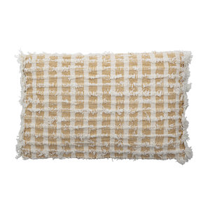 Bloomingville Cushion Yellow Check 55x35