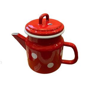 Münder Email Teekanne Email 1lt rot mit weißen Tupfen D12 H17 cm