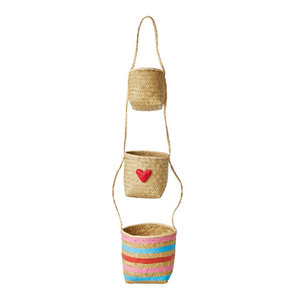 Rice Raffia Hanging Storage Baskets Hearts