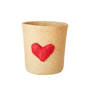 Rice Round Raffia Basket with Heart