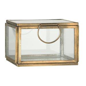 IB Laursen Glasbox m. Deckel Messing Antikfinish 9,5x9,5x6,8h