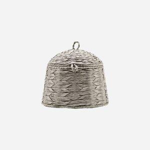 House Doctor Basket w. Lid Reve grey H:24,5 D:26 cm