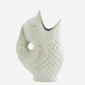 Madam Stoltz Stoneware Vase Fish offwhite H:23,5