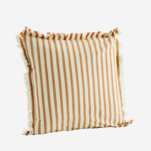 Madam Stoltz Printed Cushion Cover w. Fringes Dark Honey 50x50
