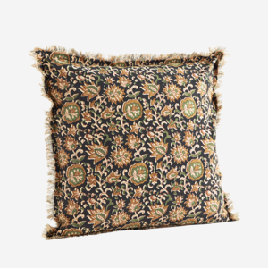 Madam Stoltz Printed Cushion Cover w. Fringes Flowers 50x50