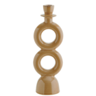 Madam Stoltz Stoneware Candleholder Rings Mustard