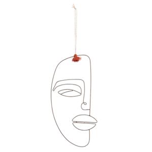 Madam Stoltz Hanging Iron Face Deco Iron w. Tassel 17x29
