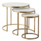Madam Stoltz Marble/Brass Coffe Tables, Set of 3