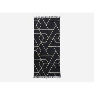 House Doctor Baumwollteppichläufer mit geometrischem Druck, schwarz / natur