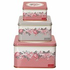 GreenGate Square Box Shirley red, Set of 3