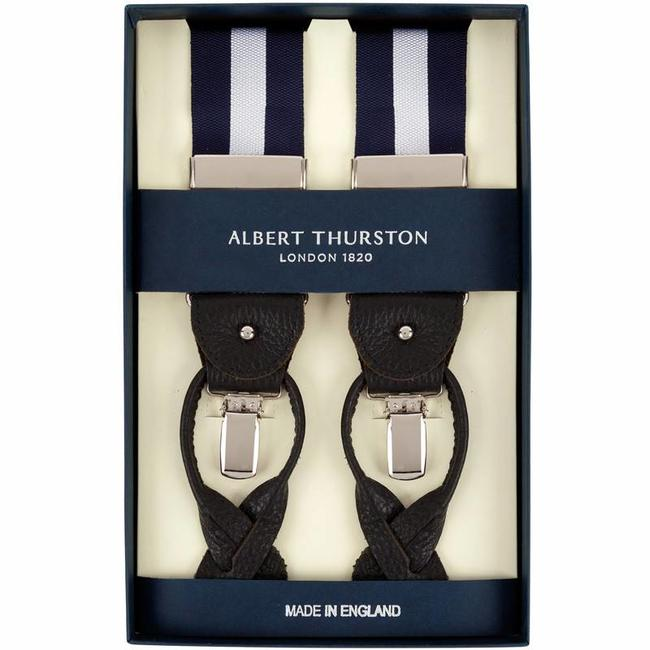 Albert Thurston Hosenträger Blau Silber