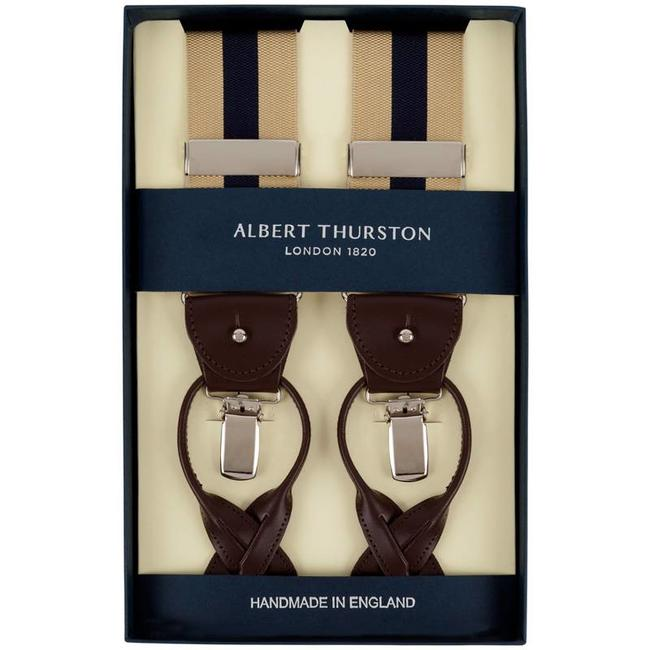 Albert Thurston Hosenträger Beige Blau