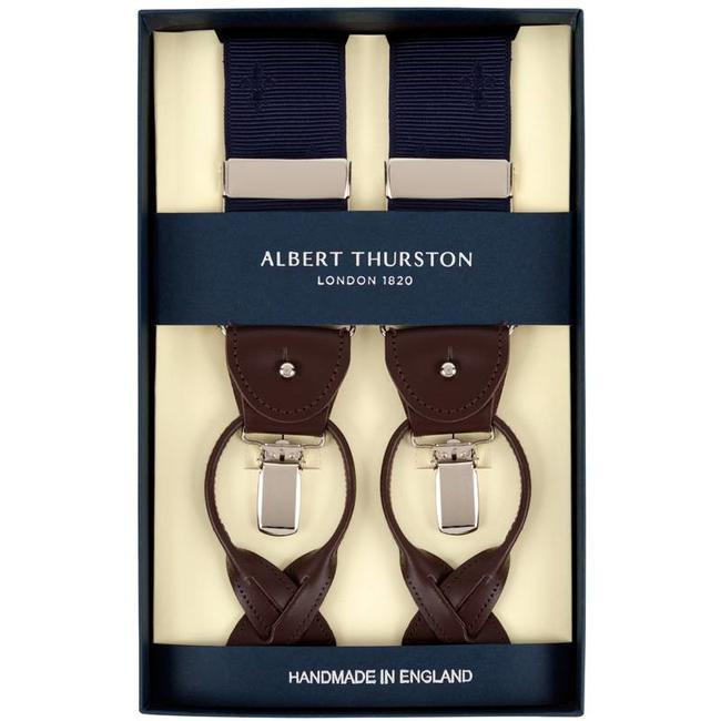 Albert Thurston Hosenträger Blau französische Lilie