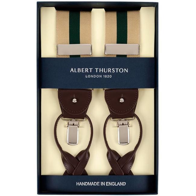 Albert Thurston Hosenträger Beige Grün