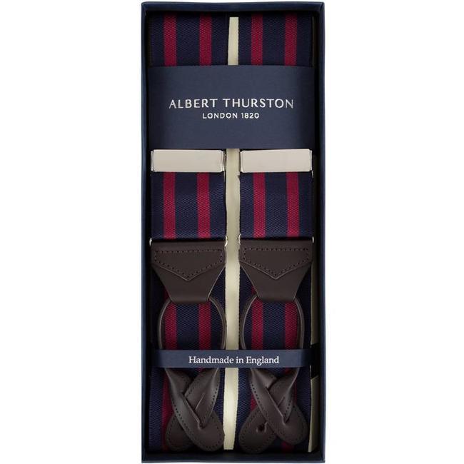 Albert Thurston Hosenträger Marine Weinrot